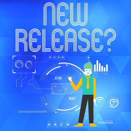 Text sign showing New Release Question. Business photo showcasing asking about recent product or service newly unleashed Man Standing Holding Pen Pointing to Chart Diagram with SEO Process Icons