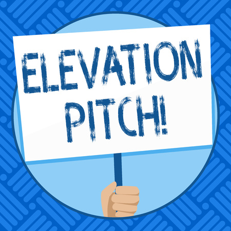 Text sign showing Elevator Pitch. Business photo text short description of product business idea given to investor Hand Holding Blank White Placard Supported by Handle for Social Awareness
