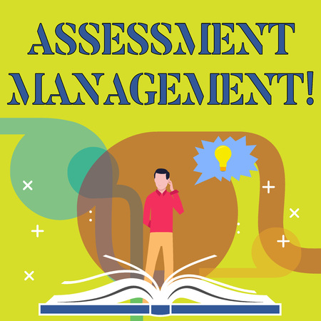 Conceptual hand writing showing Assessment Management. Concept meaning analysisagement of investments on behalf of others Man Standing Behind Open Book Jagged Speech Bubble with Bulb
