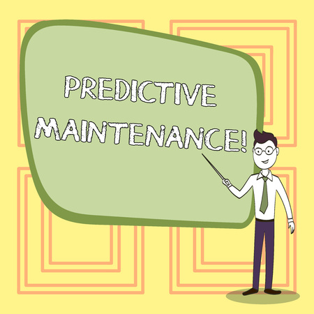Conceptual hand writing showing Predictive Maintenance. Concept meaning maintenance strategy driven by predictive analytics Confident Man in Tie, Eyeglasses and Stick Pointing to Board