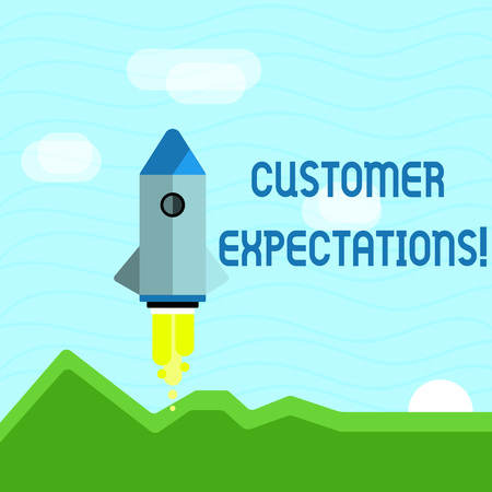 Text sign showing Customer Expectations. Business photo showcasing Perceivedvalue clients seek from the buying of a good Colorful Spacecraft Shuttle Rocketship Launching for New Business Startup Фото со стока - 120580689