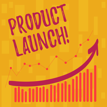 Text sign showing Product Launch. Business photo showcasing when company decides to release new product in market Combination of Colorful Column and Line Graphic Chart with Arrow Going Up