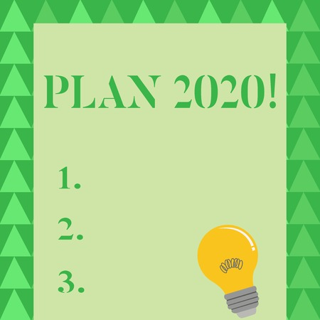 Conceptual hand writing showing Plan 2020. Concept meaning detailed proposal doing achieving something next year Light Bulb with Filament Inside Resting on Blank Color Paper