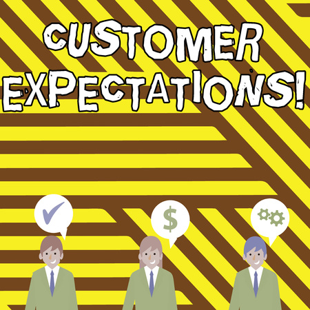 Conceptual hand writing showing Customer Expectations. Concept meaning Perceivedvalue clients seek from the buying of a good Businessmen has Speech Bubble with Optimization Cost Icons Stok Fotoğraf