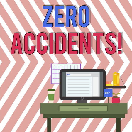 Word writing text Zero Accidents. Business photo showcasing important strategy for preventing workplace accidents photo of Interior Working Space Station Concept of Technical Person