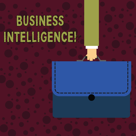 Conceptual hand writing showing Business Intelligence. Concept meaning strategies and technologies used by enterprises Businessman Carrying Colorful Briefcase Portfolio Applique