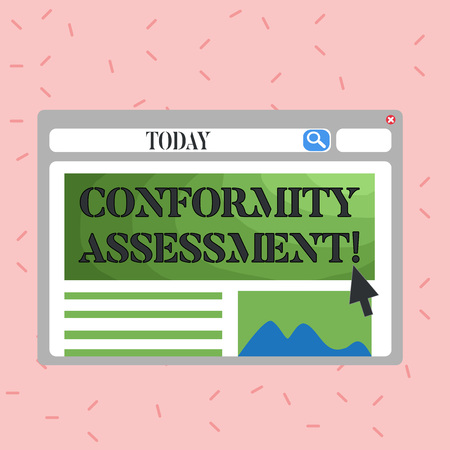 Text sign showing Conformity Assessment. Business photo showcasing Evaluation verification and assurance of conforanalysisce Blank Template of Pastel Colorful Website Layout Design for Homepage Format