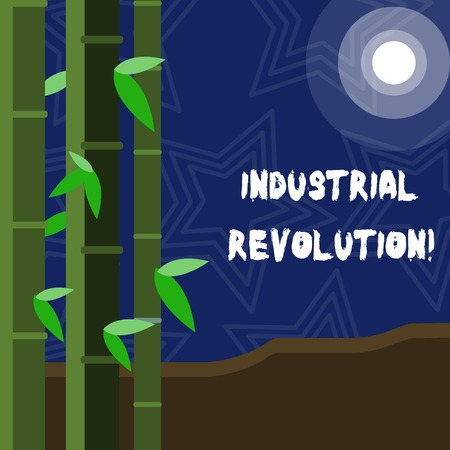 Text sign showing Industrial Revolution. Business photo showcasing time during which work done more by machines Colorful Sets of Leafy Bamboo on Left Side and Moon or Sun with Round Beam Imagens