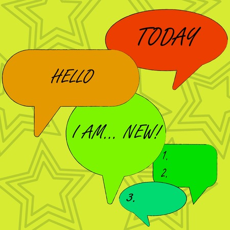 Conceptual hand writing showing Hello I Am New. Concept meaning used as greeting or to begin telephone conversation Speech Bubble in Different Sizes and Shade Group Discussion