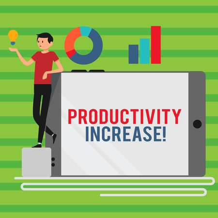 Word writing text Productivity Increase. Business photo showcasing Labor productivity growth More output from worker Man Leaning on Blank Smartphone Turned on Its Side with Graph and Idea Icon 스톡 콘텐츠