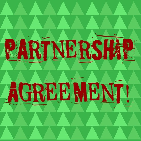 Conceptual hand writing showing Partnership Agreement. Concept meaning Legal form of business operation between parties Green Triangles Pattern in Rows like Small Trees in Abstract Shape