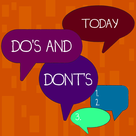 Handwriting text Dos And Donts. Conceptual photo Rules or customs concerning some activity or actions Many Color Speech Bubble in Different Sizes and Shade for Group Discussion