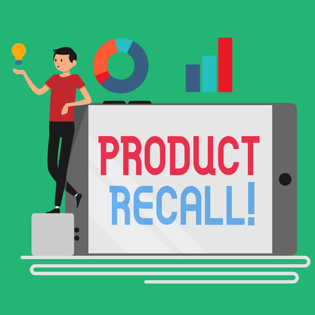 Text sign showing Product Recall. Business photo showcasing request analysisufacturer return product after discovery issues Man Leaning on Blank Smartphone Turned on Its Side with Graph and Idea Icon