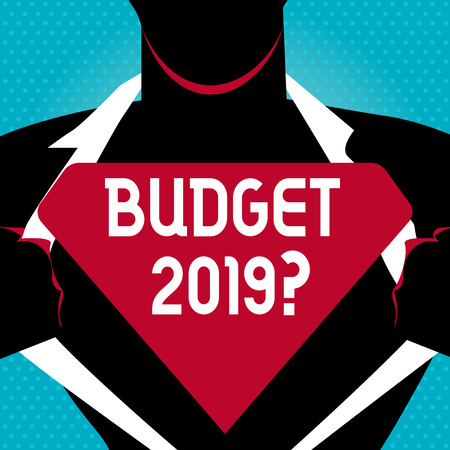 Text sign showing Budget 2019 Question. Business photo text estimate of income and expenditure for next year Man in   Pose Opening his Shirt to reveal the Blank Triangular