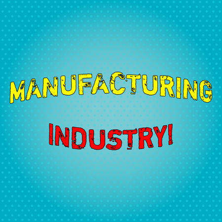 Conceptual hand writing showing Manufacturing Industry. Concept meaning Engage in the transformation of goods and products Light Beam Glowing on Seamless Blue Pastel Shade Tiny Polka Dots