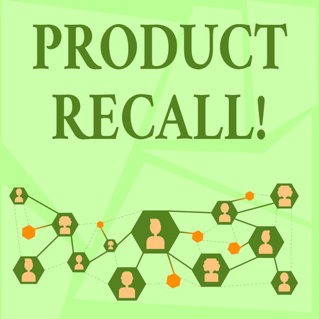 Writing note showing Product Recall. Business concept for request analysisufacturer return product after discovery issues Chat icons with Avatar Connecting Lines for Networking Idea