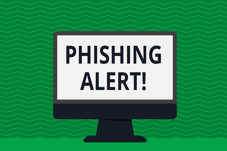 Writing note showing Phishing Alert. Business concept for direct user visit site where they asked demonstratingal information Desktop Computer Colorful Monitor Screen Freestanding Table