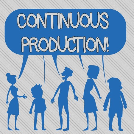 Text sign showing Continuous Production. Business photo showcasing Manufacture or produce materials without interruption Silhouette Figure of People Talking and Sharing One Colorful Speech Bubble