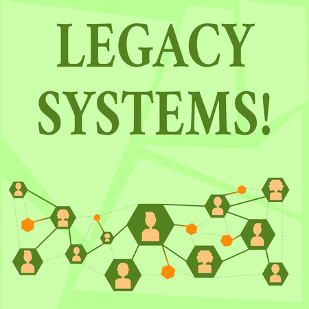 Writing note showing Legacy Systems. Business concept for old method technology computer system or application program Chat icons with Avatar Connecting Lines for Networking Idea 스톡 콘텐츠