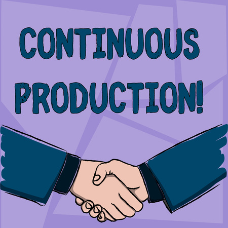 Handwriting text Continuous Production. Conceptual photo Manufacture or produce materials without interruption Businessmen Shaking Hands Firmly as Gesture Form of Greeting and Agreement Imagens