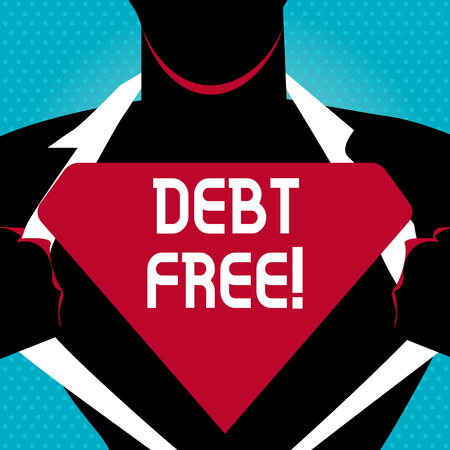 Text sign showing Debt Free. Business photo text does not owning any money to any individual or companies Man in  Pose Opening his Shirt to reveal the Blank Triangular Stock Photo