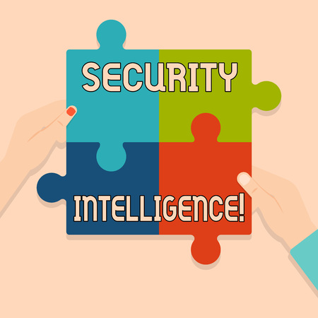 Writing note showing Security Intelligence. Business concept for protecting an organization from threats and risks Multi Color Jigsaw Puzzle Pieces Put Together by Human Hands