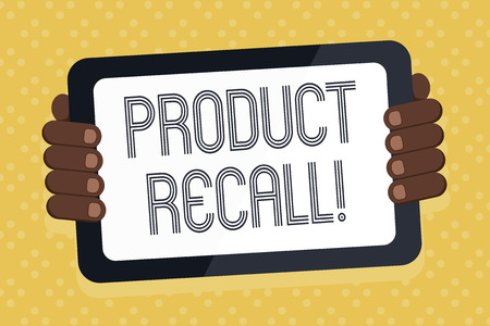 Word writing text Product Recall. Business photo showcasing request analysisufacturer return product after discovery issues Color Tablet Smartphone with Blank Screen Handheld from the Back of Gadget Stockfoto