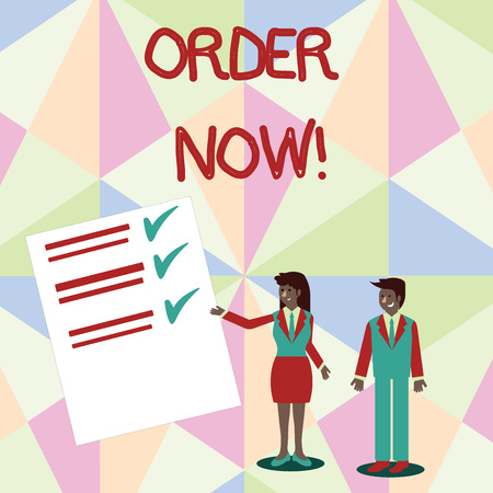 Text sign showing Order Now. Business photo text confirmed request by one party to another to buy sell Man and Woman in Business Suit Presenting Report of Check and Lines on Paper