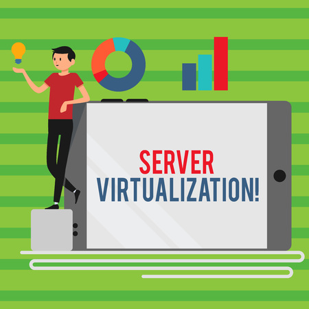 Word writing text Server Virtualization. Business photo showcasing allow for more than one server to run on same hardware Man Leaning on Blank Smartphone Turned on Its Side with Graph and Idea Icon