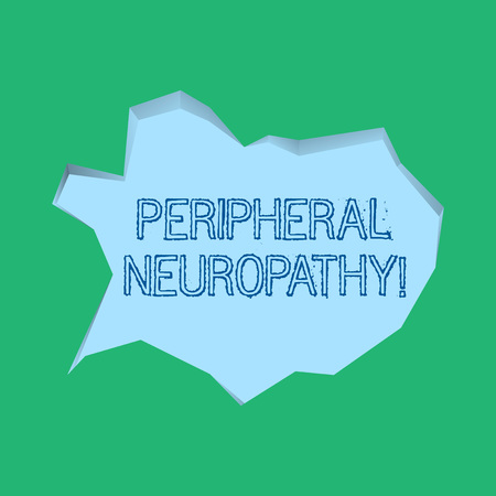 Word writing text Peripheral Neuropathy. Business photo showcasing condition or disease affecting the peripheral nerves Blank Pale Blue Speech Bubble in Irregular Cut Edge Shape 3D Style Backdrop 免版税图像 - 120578054