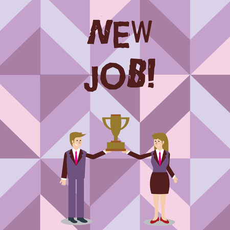 Handwriting text writing New Job. Conceptual photo recently having paid position of regular employment Man and Woman in Business Suit Holding Together the Championship Trophy Cup