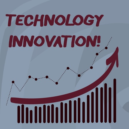 Handwriting text Technology Innovation. Conceptual photo significant technical changes of product and processes Combination of Colorful Column and Line Graphic Chart with Arrow Going Up