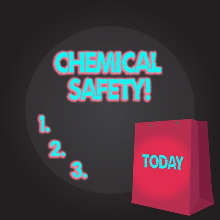 Writing note showing Chemical Safety. Business concept for practice minimizing risk exposure chemicals any environment Color Gift Bag with Punched Hole on Two toned Blank Space