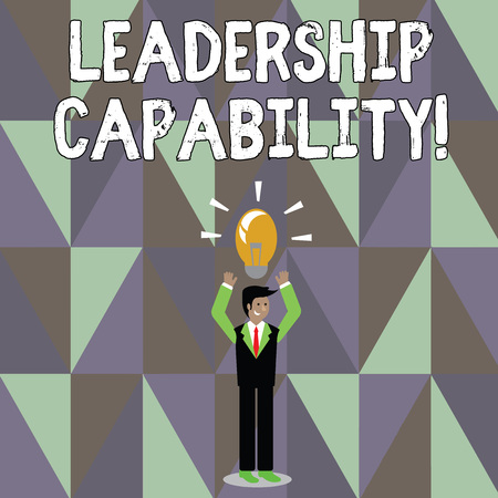 Word writing text Leadership Capability. Business photo showcasing ability to influence to lead others successfully Businessman Standing Raising Arms Upward with Lighted Bulb Icon on his Head Stock fotó - 120577914