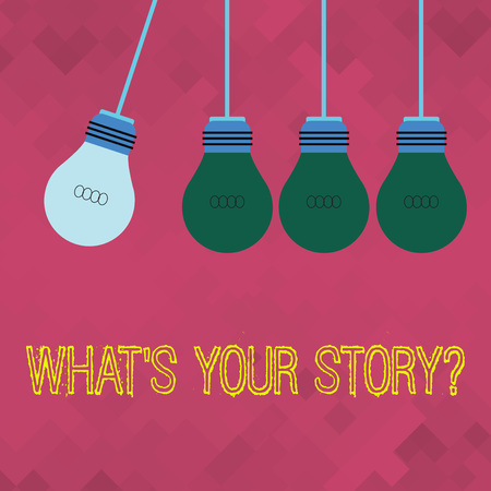 Text sign showing Whats Your Story Question. Business photo showcasing asking demonstrating about his past life actions events Color Incandescent Pendant Bulb Hanging with One Different Shade Lightbulb Reklamní fotografie