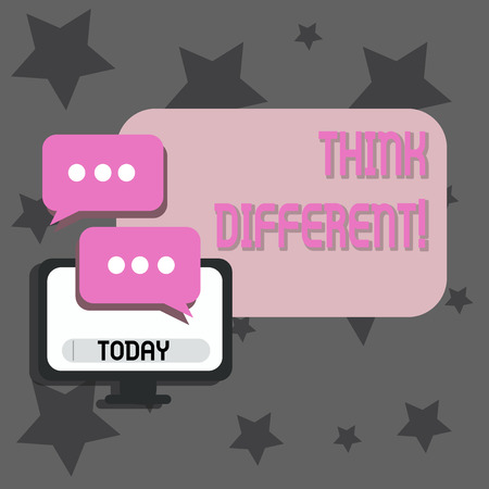 Writing note showing Think Different. Business concept for direct ones mind towards someone or something uniquely Monitor and Two Speech Balloon with Three Dots for Chat Icon
