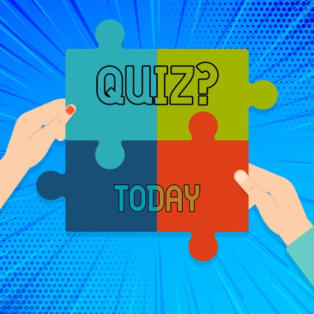 Writing note showing Quiz Question. Business concept for test of knowledge as competition between individuals or teams Multi Color Jigsaw Puzzle Pieces Put Together by Human Hands Banco de Imagens