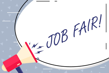 Text sign showing Job Fair. Business photo showcasing event in which employers recruiters give information to employees Blank White Huge Oval Shape Sticker and Megaphone Shouting with Volume Icon