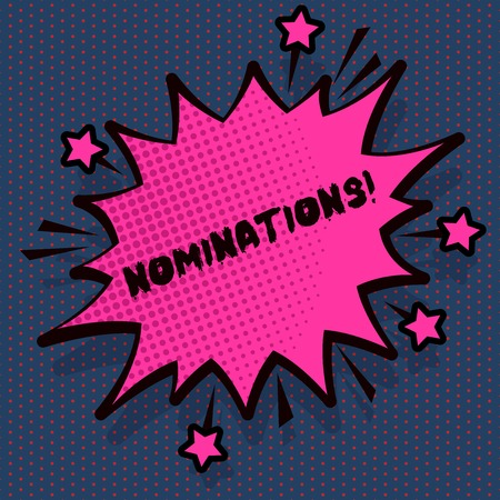 Conceptual hand writing showing Nominations. Concept meaning action of nominating or state being nominated for prize Spiky Fight and Screaming Angry Speech Bubble with Outline