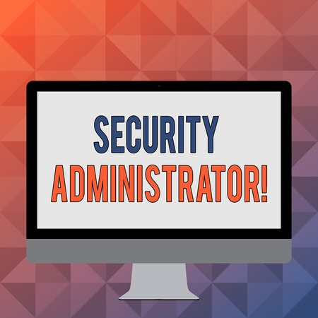 Handwriting text writing Security Administrator. Conceptual photo demonstrating who administers user access rights to systems Blank White Computer Monitor WideScreen Mounted on a Stand for Technology