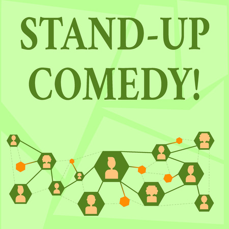 Writing note showing Stand Up Comedy. Business concept for comic style in which comedian performs front live audience Chat icons with Avatar Connecting Lines for Networking Idea