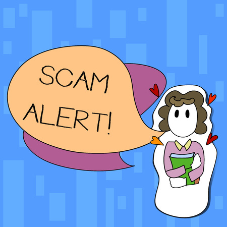 Handwriting text writing Scam Alert. Conceptual photo fraudulently obtain money from victim by persuading him Girl Holding Book with Small Hearts Around her and Two Color Speech Bubble Stock Photo