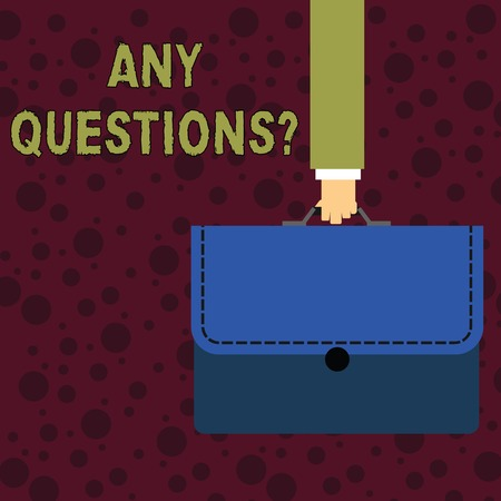 Conceptual hand writing showing Any Questionsquestion. Concept meaning Something that you say in order to ask a demonstrating Businessman Carrying Colorful Briefcase Portfolio Applique