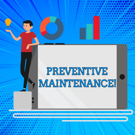Handwriting text Preventive Maintenance. Conceptual photo Routine maintenance to help keep equipment up Man Leaning on Blank Smartphone Turned on Its Side with Graph and Idea Icon Archivio Fotografico