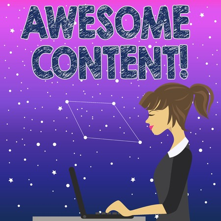 Handwriting text Awesome Content. Conceptual photo you are satisfied and happy about what book move contain photo of Young Busy Woman Sitting Side View and Working on her Laptop
