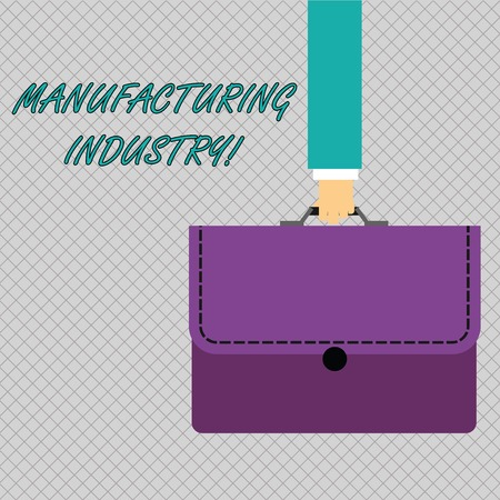 Conceptual hand writing showing Manufacturing Industry. Concept meaning Engage in the transformation of goods and products Businessman Carrying Colorful Briefcase Portfolio Applique