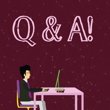 Handwriting text writing Q And A. Conceptual photo defined as questions being asked and answers Businessman Sitting Straight on Chair Working on Computer and Books on Table