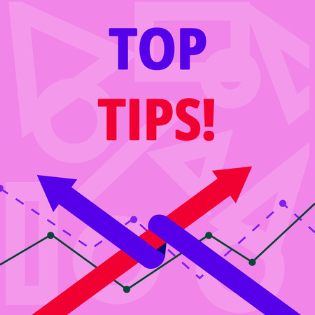 Handwriting text writing Top Tips. Conceptual photo small but particularly useful piece of practical advice Two Arrows where One is Intertwined to the other as Team Up or Competition Imagens