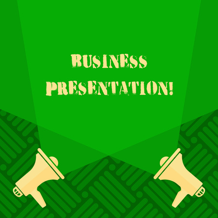 Text sign showing Business Presentation. Business photo text Demonstration or to present a new idea or product Blank Double Spotlight Crisscrossing Upward from Two Megaphones on the Floor