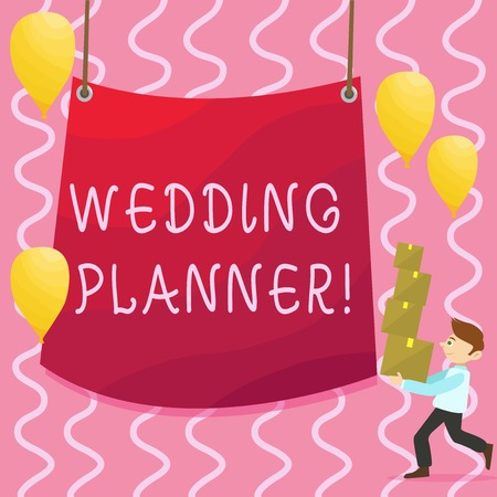 Text sign showing Wedding Planner. Business photo showcasing professional who assists with design planning and analysisagement Man Carrying Pile of Boxes with Blank Tarpaulin in the Center and Balloons